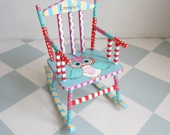 Painted Child Rocking Chair With An Owl Theme Custom