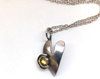 Colorado Heart Necklace made From Recyled Stainless Steel and Bronze