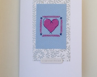 Cross stitch heart original card with the wording 'a special friend'