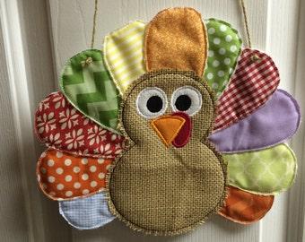 Turkey Door Hanger. Custom With Burlap And Fabric Feathers.