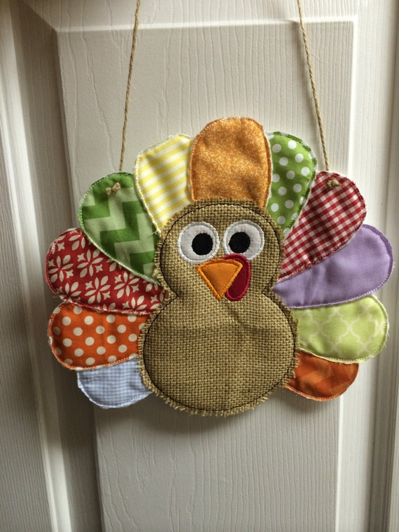 Turkey door hanger custom with burlap and fabric feathers for Burlap fabric projects