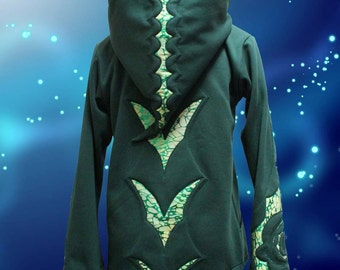 MADE to ORDER Male Dragon Shimmer Hoodie for Psy festival, doof, wizard, pixie wear and general dragon awesome