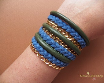 Wrap Bracelet, Blue Braided Bracelet, Beaded Bracelet, Leather Bracelet, Boho Bracelet, Triple Wrap
