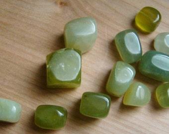 Green Stone Cube Beads - Medium - Large