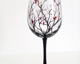 Cardinal Wine Glass Hand Painted Red Spirit Bird Snowy Tree Branches Seasonal Holiday Winter Glassware Collectible Visitor From Heaven Gift