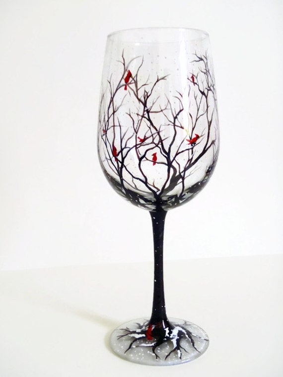 Cardinal hand painted wine glass red bird winter stemware for Holiday stemware