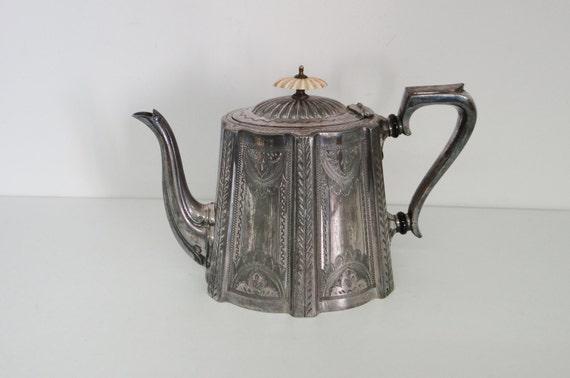 Vintage Teapot Antique Victorian Silver Plate By Daniel