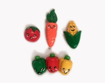 Cute Polymer Clay Vegetable Magnets