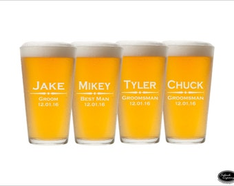 SHIPS FAST - FOUR Custom Pint Glasses, Custom Pint Glass, Custom Beer Glasses, Custom Beer Mugs,  Personalized Pint Glass, Groomsmen Glasses