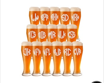 SHIPS FAST - 16 Groomsmen Beer Mugs, Personalized Groomsmen Beer Mugs, Custom Groomsmen Beer Mugs, Etched Groomsmen Mugs, Pilsner Beer Glass