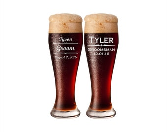 SHIPS FAST - TWO Personalized Wedding Glasses, Personalized Pilsner Glasses, Personalized Beer Glasses, Personalized Beer Mugs, Groomsmen