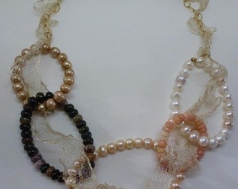 LoopDeLoop Necklace ivory pearls loop Ethiopian opals loop peach pearls loop Tourmalines loop Champagne pearls on gold ruffled chain