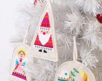 Christmas Ornaments - set of six - modern cross stitch pattern PDF - Instant download