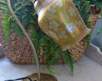 vintage LAMP Goose Neck Acid Etch etched Amber Carnival Verre de Soie iridescent Shade steuben? Gatsby Deco Nouveau FREE SHIPPING usa