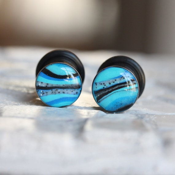 00 Gauges Blue Plugs Plug Earrings Clay Plugs by ...