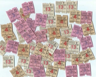 40 Transport Tickets - Vintage Bus Tickets for Altered Arts Mixed Media Collage Scrapbooking from England - 1970