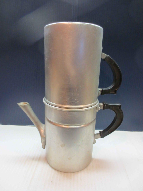 Neapolitan Flip Coffee Pot ~ Vintage aluminum coffee maker neapolitan flip pot