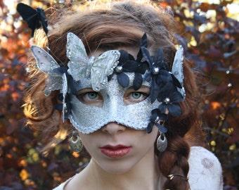 Silver Masquerade Mask masquerade ball mask halloween fairy mask butterfly mask silver bridal mask venetian carnival mask PAPILLON NOIR