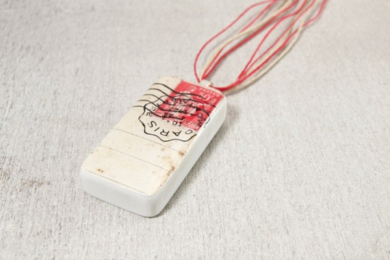 1920s Paris Red Postage Stamp Domino Necklace