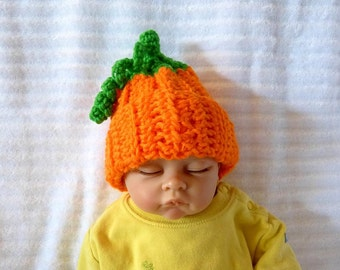 Baby Pumpkin Hat, Green twirly leaves,  Photo Prop, Baby Shower Gift, Costume Hat