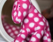 Pretty Pink Pony Plush (Microfleece pink and white polkadot horse plushie)