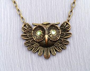 Hooter Envy- Vintage Antiqued Brass Owl Adjustable Necklace
