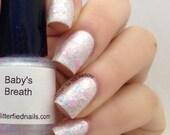 Baby's Breath - Pearl White Blue Pink Glitter Nail Polish Spring polish 5 free nail polish handmade indie nail polish vegan cruelty free