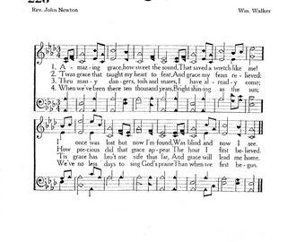 Amazing Grace Christian Hymn Digital Sheet Music Home Decor Inspirational Art Gift John Newton Pastor Mother Grandparent Do It Yourself
