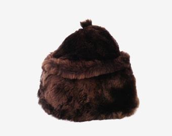 Soviet vintage rabbit fur hat women fur hat authentic USSR rabbit hat chcolate brown warm winter hat gift for women lumberjack autumn hat