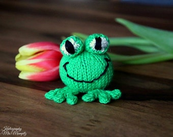 Frog knitting pattern for beginners and advanced knitters, spring gift and decoration, easter, gift for kids and adults