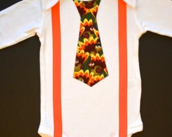 Thanksgiving Tie bodysuit with suspenders -  Bodysuit or shirt outfit - First Thanksgiving Outfit Baby Boy