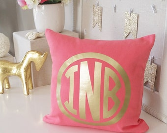 SALE! Monogram Throw Pillow Cover - Teal Coral Chinoise Frame Metallic Gold or Silver Monogram