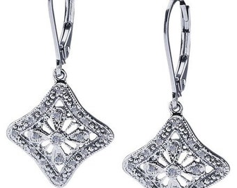"Vintage Inspired Art Deco ""Duchess"" Sterling Silver .50 ct Diamond Earrings  ~ FREE SHIPPING"