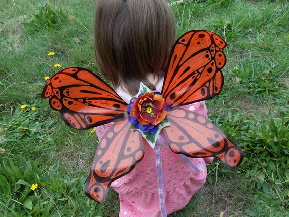 Sale Orange and Black Monarch Butterfly Pattern Fairy Wings