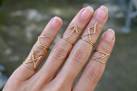 Gold Wire Rune Rings Set of 4 Handmade Wire Jewelry Boho
