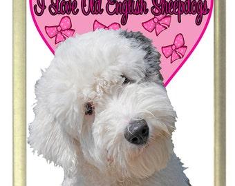 I Love Old English Sheepdogs Fridge Magnet 7cm by 4.5cm,