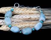 March Birthstone: Adjustable Aquamarine Bracelet, Large Aquamarines with Turquoise and Sterling Silver