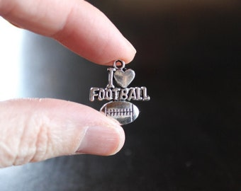 4 I love football pendants/charms, antique silver, 18 mm, hole 2 mm, pewter