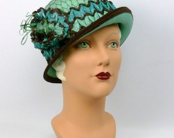 Aqua & Brown Cloche Hat - Vintage Straw Accessories - Hand Made - Vintage French Veiling - 1920s 1930s style - Downton Abbey - Great Gatsby
