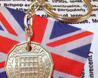 1967 3d 12 Sided Threepence English Coin Keyring Key Chain Fob Queen Elizabeth II