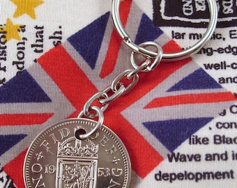 1953 Old Scottish Shilling Coin Keyring Key Chain Fob Queen Elizabeth