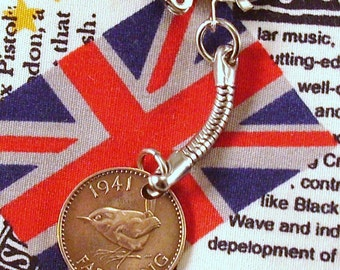 1941 British Farthing Coin Keyring Key Chain Fob King George VI Wren