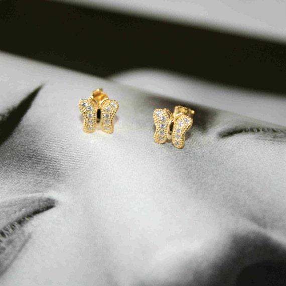 Butterfly stud earrings, silver 925 butterfly earrings with zircons, stud butterfly earrings, gift for her, butterfly earrings