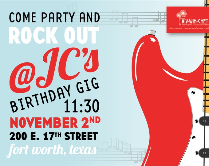 Guitar Rockstar  | Birthday Party Invitation