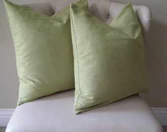 Set of 2: Apple Green Faux Suede Pillow Cover