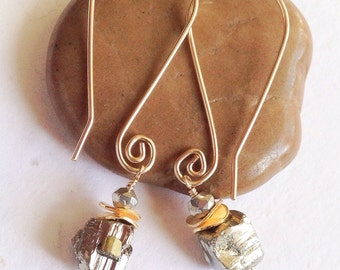 Pyrite and gold filled earrings