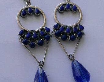 Antique Vintage Royal Blue Geometric Chandelier Earrings