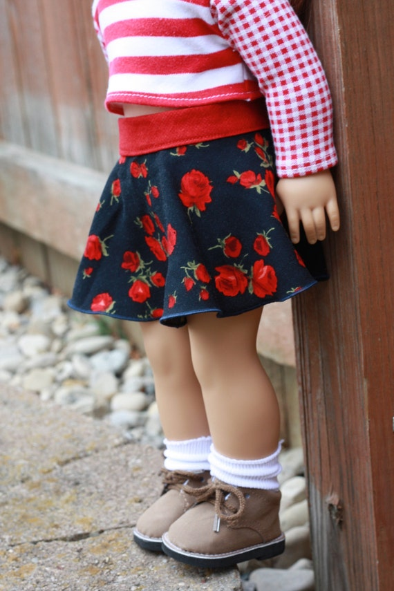 American Girl Doll Clothes -Trendy Dark Navy Red Floral Circle SKATER SKIRT