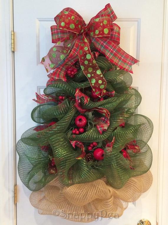 Items similar to christmas tree wreath huge deco mesh - Como hacer coronas de navidad ...