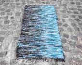Handwoven Rag Rug Blue rug  Wool Carpet  150 cm x 68 cm wool rug